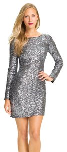 Aidan Mattox V-back Sequins Bateauneck Cocktail Fitted Lined Polyester Dress