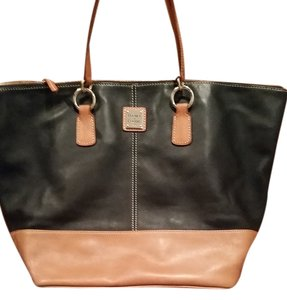 Dooney & Bourke Tote in Navy Blue Leather Tan leather on the bottom with Dust Bag
