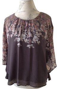 Forever 21 Kimono Sleeve Top Gray Floral