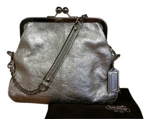 Coach Rare Leather Metallic Silver Clutch
