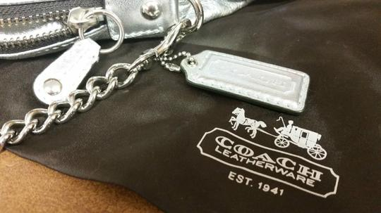 Coach Rare Leather Hard To Find Metallic Silver Clutch