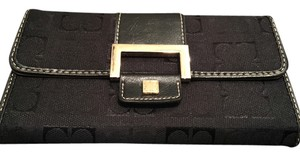 Liz Claiborne Logo Leather and Gold Wallet