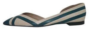 Tory Burch Designer New York Striped Leather Beige Off-white Teal Pointed Fashion Luxury Runway Resort Multi-colored Flats