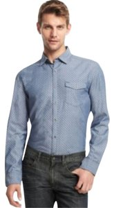 Kenneth Cole Kenneth Cole Reaction Blue Pointed Collar Pattern Button-Down Shirt XL