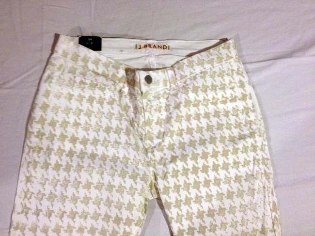 J Brand Printed Houndstooth Capri/Cropped Pants creamy white