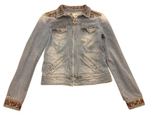 Mango Studded Jean Gold Denim Womens Jean Jacket
