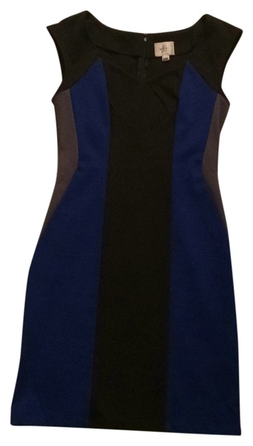 Preload https://img-static.tradesy.com/item/6682372/eci-new-york-black-blue-grey-colorblock-knee-length-short-casual-dress-size-4-s-0-0-650-650.jpg