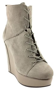 Charlotte Ronson Leather Wedge Gray Boots
