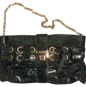 Jimmy Choo Emerald Leopard Patent Leather Gold Hardware Green Clutch