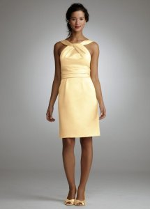 David's Bridal Yellow Short Cotton Dress With Y-neck And Skirt Pleating Dress
