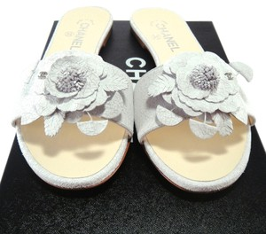 Chanel White Camellia Flower Sliders gray Sandals
