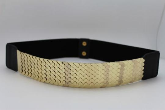 Other Women Fashion Belt Hip High Waist Gold Metal Plate Fish Scales Black Elastic