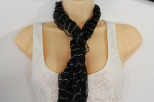Other Women Fashion Neck Scarf Sheer Fabric Light Long Striprs Black White Wrap