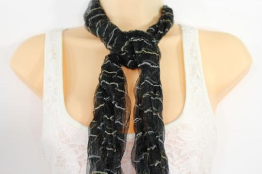 Other Women Neck Scarf Sheer Fabric Long Striprs Black White Wrap