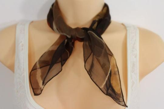 Other Women Fashion Brown Neck Scarf Sheer Fabric White Flowers Pocket Square