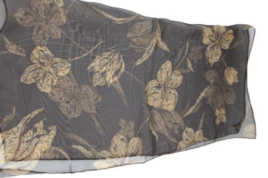 Other Women Brown Neck Scarf Sheer Fabric Flowers Pocket Square