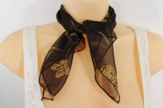Other Women Brown Neck Soft Scarf Fabric White Flower Pocket Square