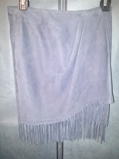 Anne Klein Leather Suede Fringe Hem Wrap Mini Mini Skirt Gray