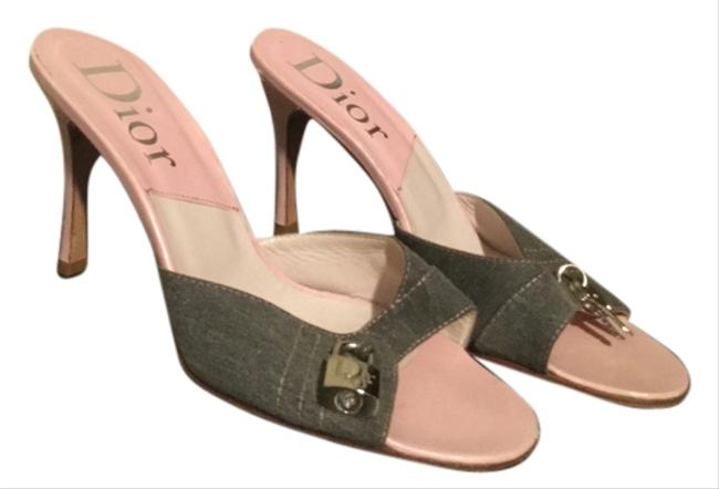 Item - Pink Leather with Grey Jean Fabric Mules/Slides Size US 9 Regular (M, B)