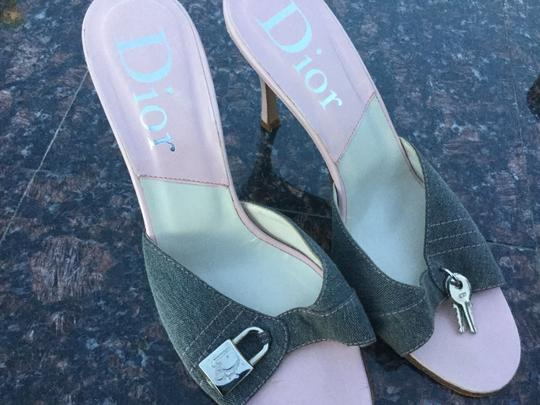 Dior Pink leather with grey Jean fabric Mules