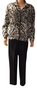 100% Silk Casual Two Piece Pant Suit