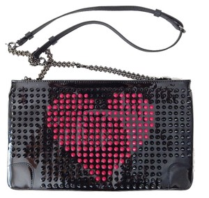 Christian Louboutin Heart Patent Leather Black / Red Clutch