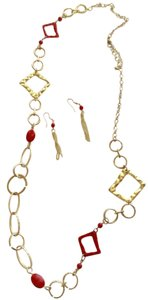 Red Orange And Gold Earring And Necklace Set