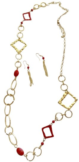 Preload https://item3.tradesy.com/images/red-orange-and-gold-earring-necklace-set-6692332-0-1.jpg?width=440&height=440