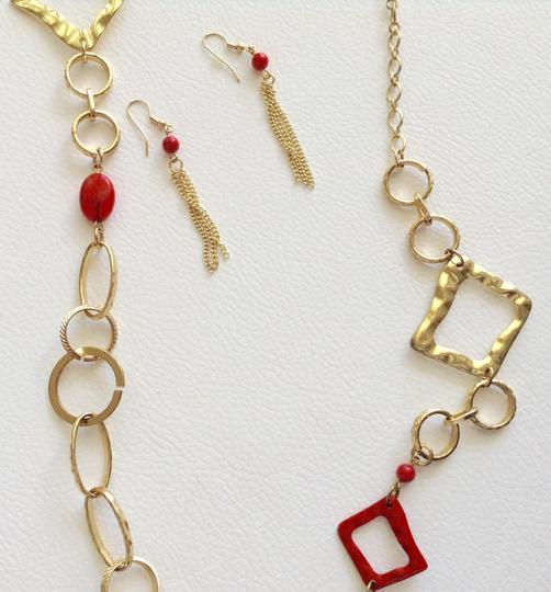Other Red Orange And Gold Earring And Necklace Set