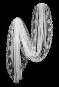 Beautifully Embroidered Cathedral Veil In White Or Ivory