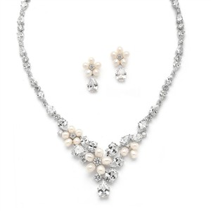 Glamorous Cz/fresh Water Pearl Wedding Necklace Set