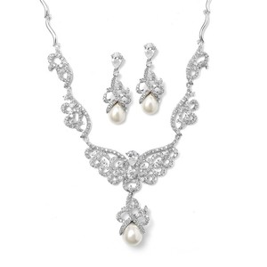 Cz Pave Scroll Bridal Necklace Set With Pearl