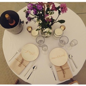 BHLDN Gold and White Just Married Plates Tableware