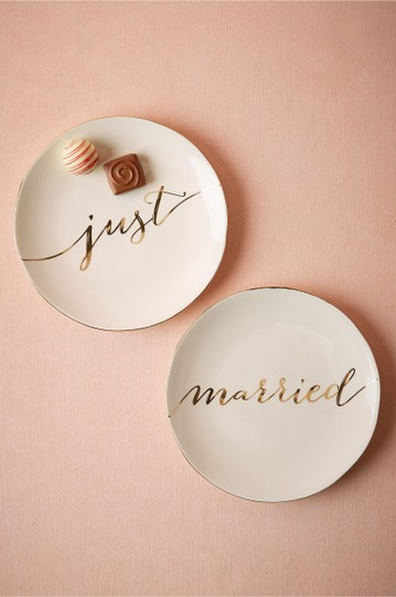 BHLDN Gold and White Just Married Plates Tableware Image 1