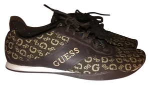Guess Lace Up Logo Print Brown and Beige Athletic