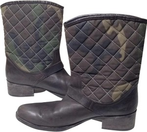 Via Roma 15 Italian Leather Quilted Dark Brown Boots