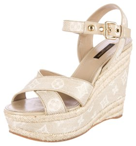 Louis Vuitton Beige White Ivory Lv Logo Monogram Canvas Gold Hardware Embellished Embroidered Print Strappy Sandal Platform Hidden White; Beige Wedges