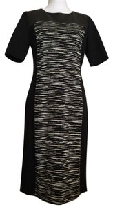DKNY Zebra Panel Leather Dress
