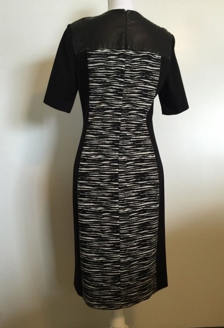 DKNY Zebra Panel Leather And White Size 6 Small Dress