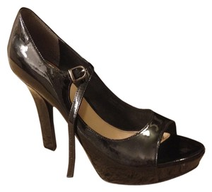 Via Spiga Heels Stiletto Platform Leather Patent Leather Mary Jane Dress Black Pumps