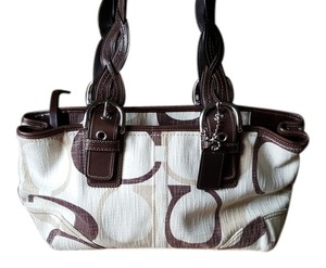 Coach Braided Leather Jacquard Tote in Beige/Ivory/Brown