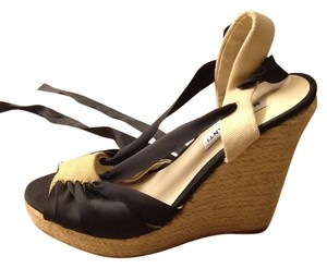 Marco Santi Wedge Straw Summer Black and Natural Beige Sandals