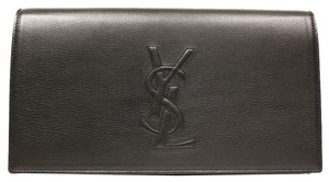 Saint Laurent Ysl Leather Luxury Designer Oversized Black Clutch