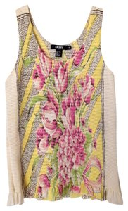 DKNY Top Pink, Yellow & Black/Ivory