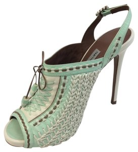 Tabitha Simmons Mint White Brown Platforms