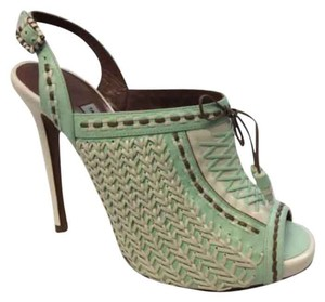Tabitha Simmons White brown mint Platforms