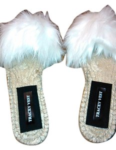 Indepent Designer Sexy White faux fur jute peep toe flat mules size 9 Mules