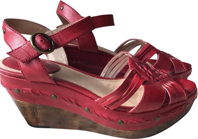 Item - Red Carlie Huarache Ankle Leather Wedges Size US 7 Regular (M, B)