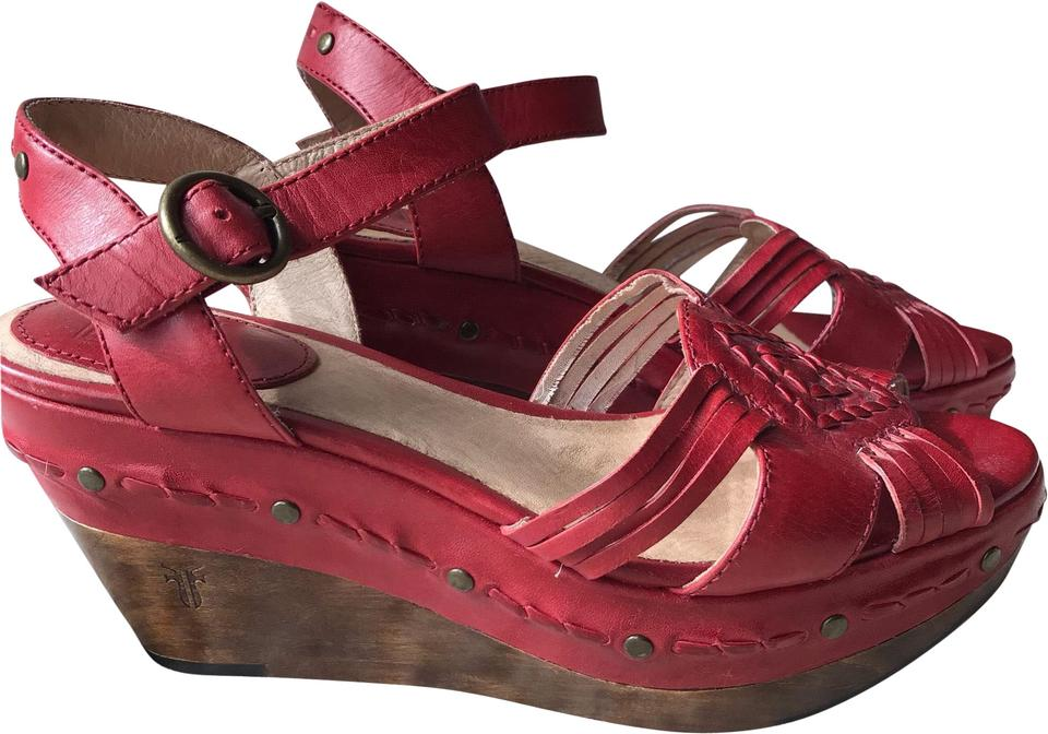 b2d9b7d8160 Frye Red Carlie Huarache Ankle Leather Wedges Size US 7 Regular (M ...