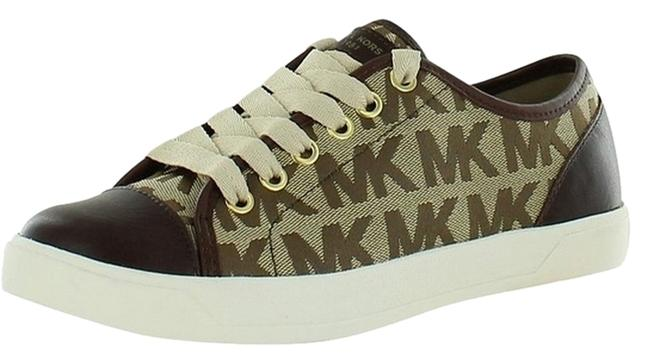 Item - Mk Signature Brown Block City Canvas Leather Logo Lace-up Sneakers Size US 8 Regular (M, B)